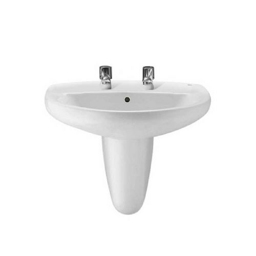 Roca Laura Round Basin With Semi Pedestal - 560mm - 2 Tap Hole - White